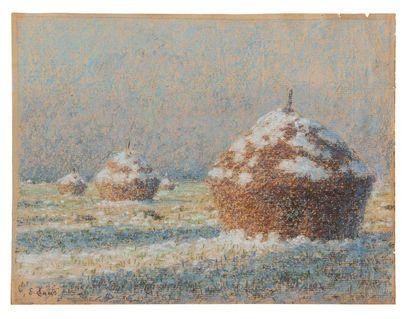 Emile Claus (1849-1924) Les meules sous la neige. Pastel. Signé en bas à gauche....