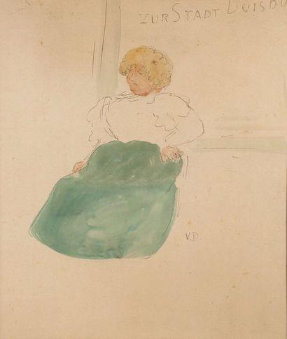 Kees VAN DONGEN (1877-1968) Zur Stadt Duisburg. Dessin à l'aquarelle et encre sur...