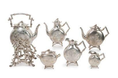 Service à thé et café en argent (min. 800),...