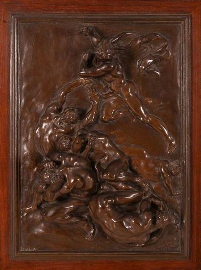 Aimé-Jules DALOU (1838-1902) Les Châtiments. Bas-relief en bronze à patine brune....