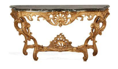 Table console Régence «aux dragons», en chêne...