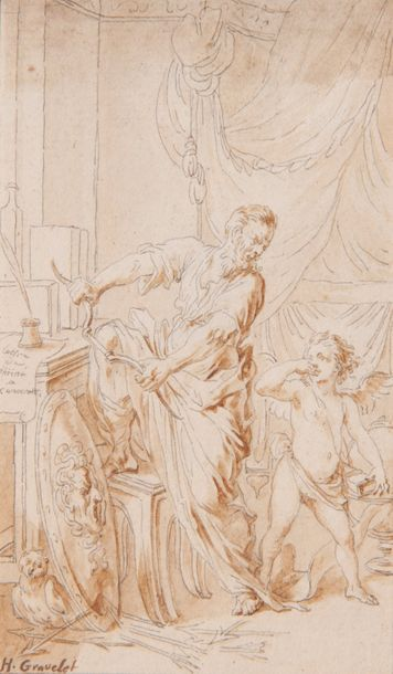 Hubert GRAVELOT (Paris 1699 - id.; 1773) Imitation d'Anacréon. L'Auteur ayant écrit...
