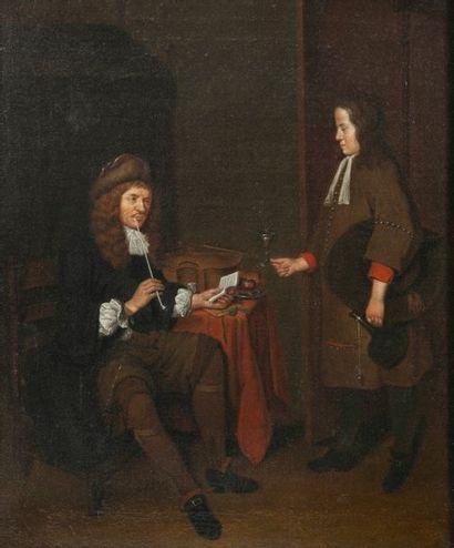 Ecole hollandaise de la seconde moitié du XVIIème siècle Jeune garçon apportant un...