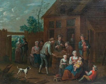 Jan-Baptist MONTEYN (Actif à Anvers vers 1695-1722) 1 - Les joueurs de dés. Huile...