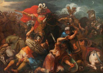 Ecole romaine du milieu du XVIIème siècle La Bataille de Josué contre les Amorrhéens...