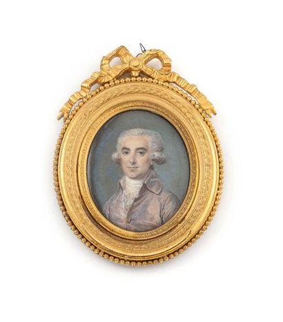 Ecole d'Antoine VESTIER (1740-1824) Portrait d'homme en habit de soie parme (vers...
