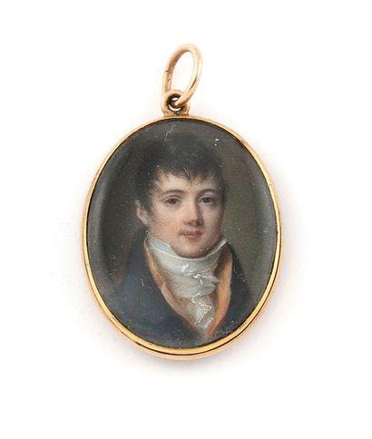 ENTOURAGE DE JEAN-BAPTISTE ISABEY (1767-1855) Portrait de jeune homme en redingote...