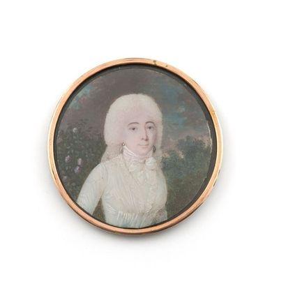 Charles-Pierre CIOR (Paris 1769-1840) Portrait de jeune femme à la robe de voile...