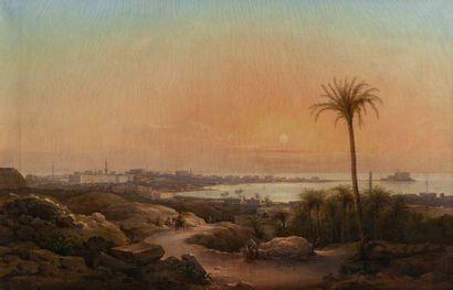 Nikanor Grigorievich CHERNETSOV (1804-1865) Vue d'Alexandrie en Égypte (1850). Huile...