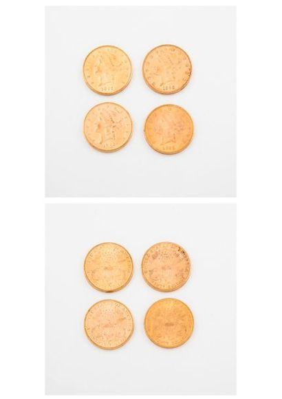 ETATS UNIS  Lot de quatre pièces de 20 dollars or, 1892, 1895 (x2), 1896.  Poids...