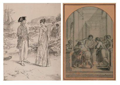 Deux dessins sur papier :  - Le Christ engageant...