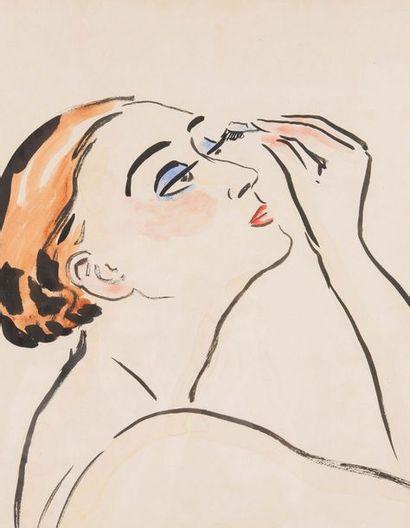 Kees VAN DONGEN (1877-1968) Le rimmel Aquarelle et encre de chine, signée en bas...