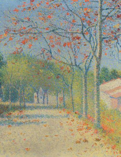 Achille LAUGE (1861 - 1944) Automne, route aux environs de Cailhau, 1916 Huile sur...
