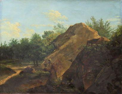 ÉCOLE FRANÇAISE DU XIXe siècle: «Rochers...