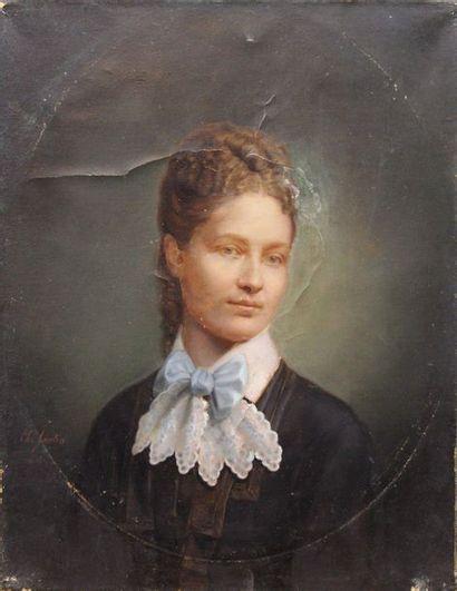 Ecole française du XIX-ème Siècle: «Portrait...