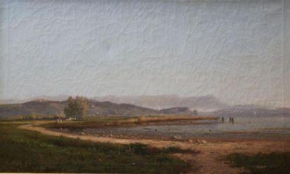 CAUVIN Edouard Louis (1817-1900): «Promeneurs...