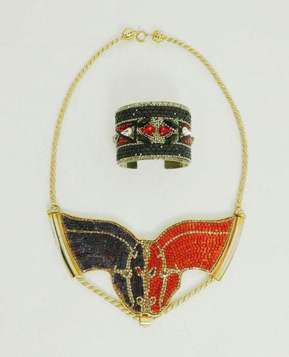 LESAGE Paris  Lot comprenant un collier plastron...