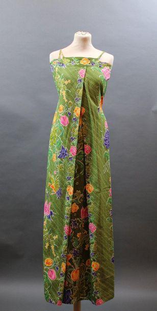 KENZO JAP, circa 1975  Robe longue à bretelles...