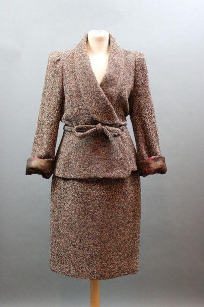 Tailleur jupe en lainage chiné, T.38-40