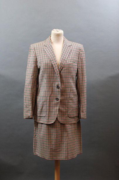 BURBERRYS'  Tailleur jupe en lainage à petits...