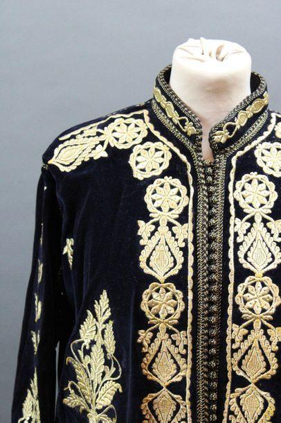 Manteau de cérémonie en velours bleu nuit,...
