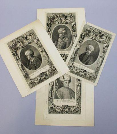 TURQUIE - Empire OTTOMAN - Réunion de 4 gravures...