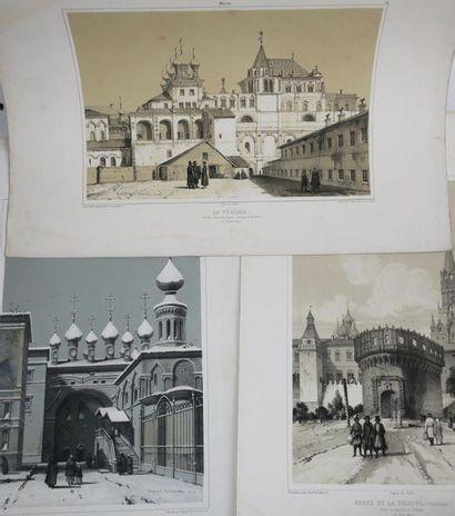 RUSSIE - VUES de MOSCOU , vers 1850 - Réunion...