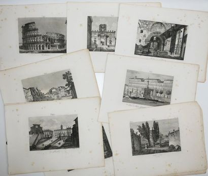 ITALIE - Réunion de 22 VUES de ROME. XIXème....