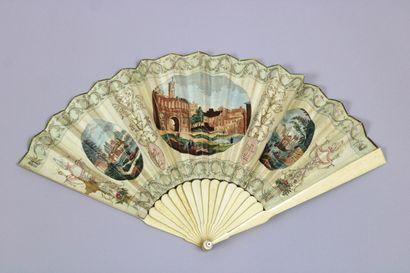 Eventail, XIXème siècle, monture en ivoire,...