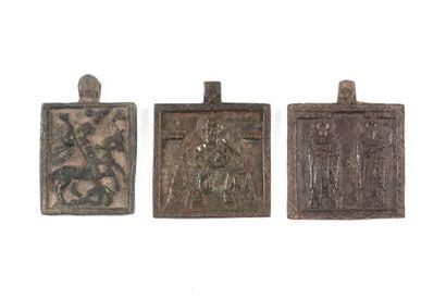 Trois icônettes rectangulaires.  • Saints...