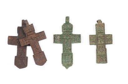 Quatre croix. Novgorod et Tver, XVIe s.  Bronze....