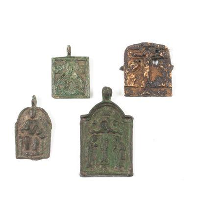 Quatre médailles-icônettes : • le Christ...