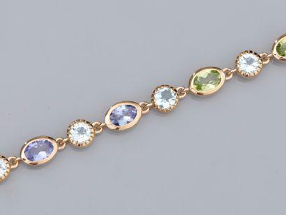 Bracelet en vermeil 925, serti de tanzanites,...