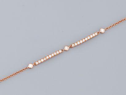 Fin bracelet à maille forçat en or rose 750°/°°...