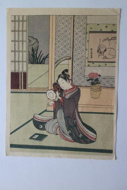 Lot de onze estampes, Suzuiki Harunobu, dit Harunobu (ca 1725-1770)