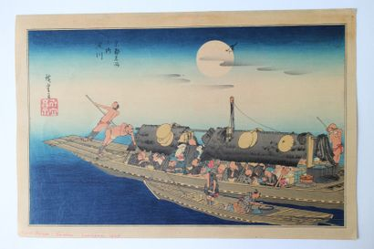 Lot de trois estampes, Hiroshige (1797-1858)
