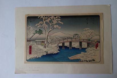 Lot de quatre estampes, Hiroshige (1797-1858),