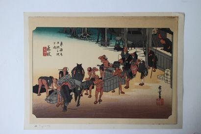 Lot de trois estampes, Hiroshige (1797-1858),