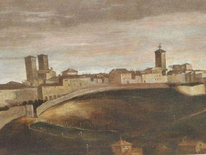 """Juan Bautista MARTINEZ DEL MAZO (vers 1612 - 1667) - """"VUE DE PAMPLONA"""". Huile sur..."""