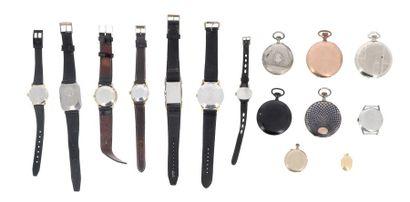 Lot de montres diverses comprenant : - une montre bracelet LIP Elgiloy en acier...