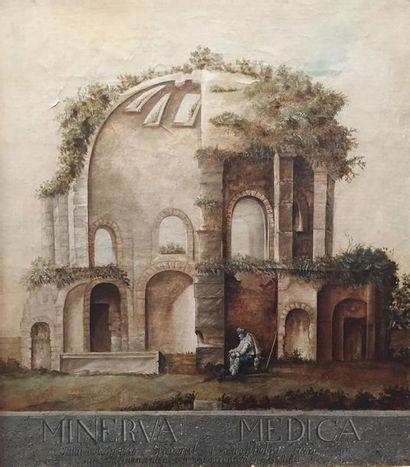 Ecole SUEDOISE du XIXème siècle Temple de...