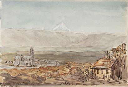 Ecole anglaise du XIXème siècle Vue du Mont...