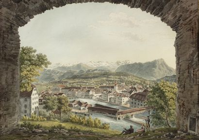 J.J. SPERLY (école suisse) Une paire de paysage...