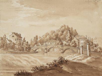 Ecole anglaise du XIXème siècle Vue du lac...