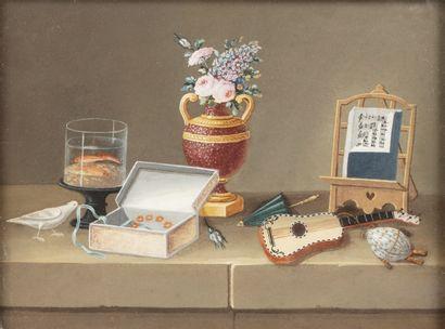 LELONG (actif vers 1800) Trois nature morte...