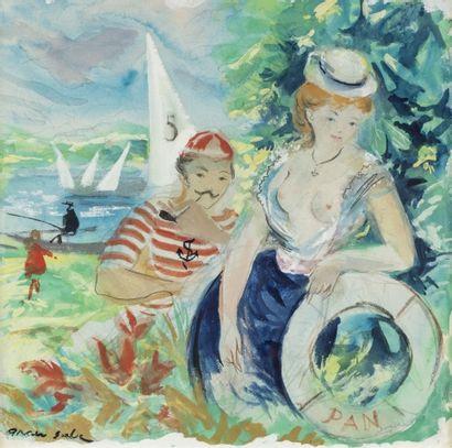 Emilio GRAU SALA (1911 – 1975) Le canotier...