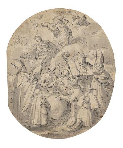 Ecole allemande du XVIIème siècle Scène religieuse...