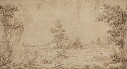 Ecole hollandaise du XVIIème Paysage boisé...