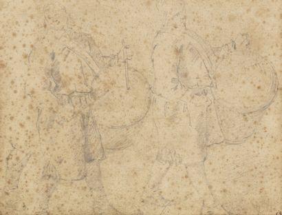 Entourage de David TENIERS (Anvers 1610 - Bruxelles 1690) Intérieur animé Crayon...