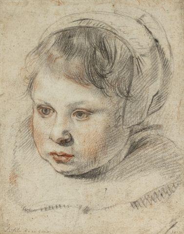 Cornelis de VOS (Hulst 1584 – Anvers 1651) Portrait d'enfant coiffé d'un bonnet...